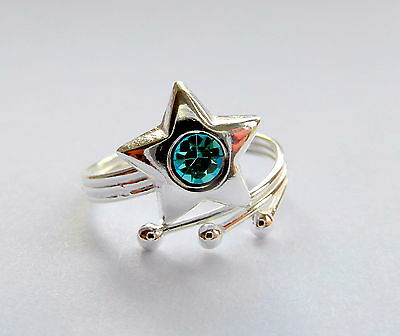 Sterling Silver (925)  Adjustable Star With Aqua Blue Stone Toe Ring  !!  New !!