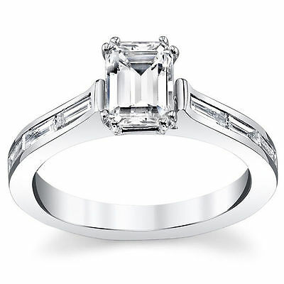 2.50ct Emerald Cut Solitaire Diamond Ring 14K White Gold Over Emerald Ring