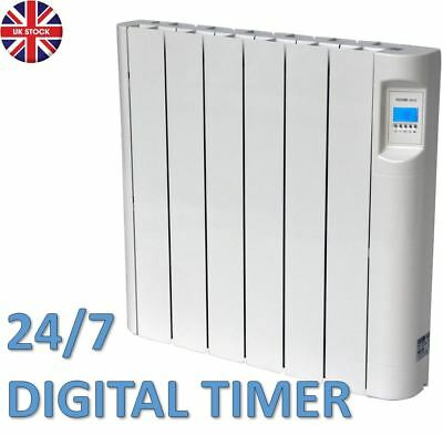 1Kw Electric Oil Filled Radiator Panel Wall Mounted Heater Thermostat & Timer