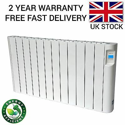 2KW Electric Oil Filled Radiator Panel Wall Mounted Heater Thermostat & Timer