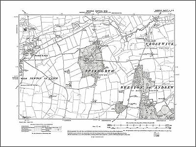 Old map of Crostwick, Spixworth, Horsham St Faith, Norfolk in 1908: 51SE repro