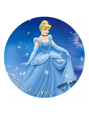 """Cinderella Personalised Cake Topper Birthday Decoration 8"""" Wafer/Icing Sheet"""
