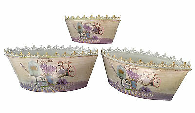 French country planter vintage painted metal decorative bucket pots (set of 3)