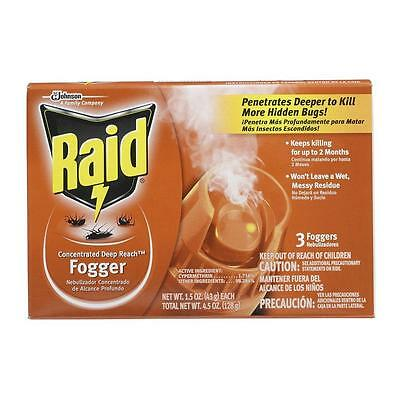 New Pack of 3 Raid Deep Reach Insect Foggers 1.5oz. FREE SHIPPING