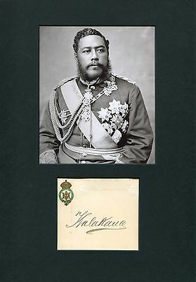 LAST KING OF HAWAI`I Kalakaua autograph, signed original card mounted