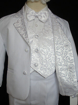 Baby Boy Children Formal Tuxedo Communion Baptism Church Suit White sz: S to 7