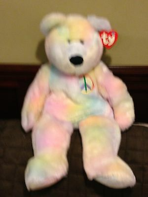 RETIRED TY LARGE 20 inch BEANIE BUDDY PEACE THE TYE DYE BEAR MINT WITH TAGS