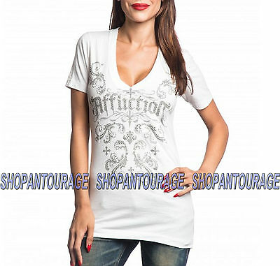 Affliction Isabella AW11092 Women`s New White Oil Stain Top