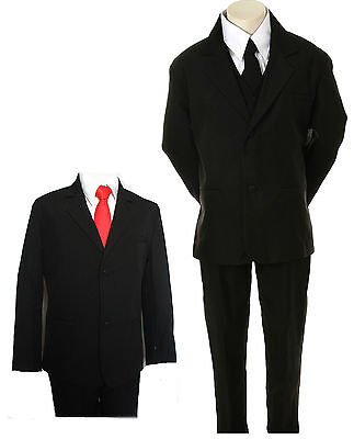 Boys Black Pinstripes Suit Dark Red Tie Tuxedo 2 3 4 5 6 7 8 10 12