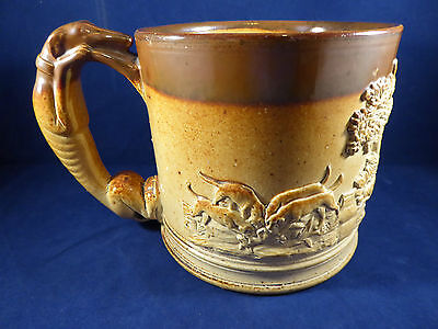 LARGE ANTIQUE BULPER/DENBY BROWN STONEWARE HUNTING MUG WITH DOG HANDLE c1830