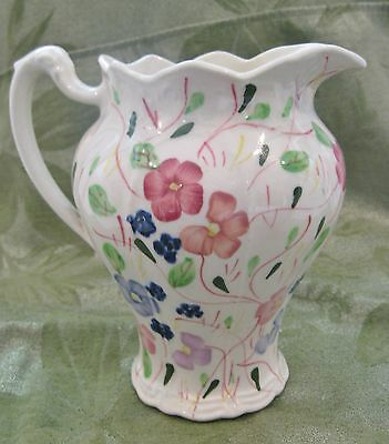 Blue Ridge Southern Potteries Pitcher Hand Painted Flowers Vintage Blue Green