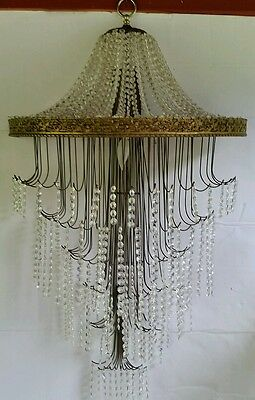"Vintage Hanging Wall Waterfall Brass & Crystal Ornate Chandelier 24"" x 42"""