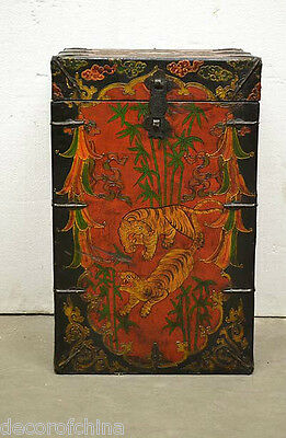 Collectible Tibetan Wooden Painted Storage Trunk Chest Side End Table H19-04B