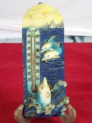 Dolphin Thermometer Temperature Gauge Ocean Sea Fish Marine Boat Sun Waves