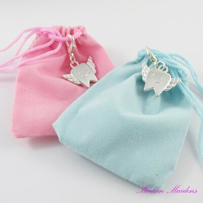 Baby's First Tooth Tooth Fairy Charm Keepsake Pouch Select Pink or Blue