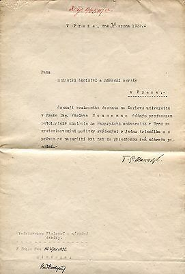 PRESIDENT OF CZECHOSLOVAKIA Tomas Masaryk autograph, typed letter signed