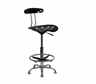 Black and Chrome Drafting Stool w Tractor Seat chair adjustable furniture