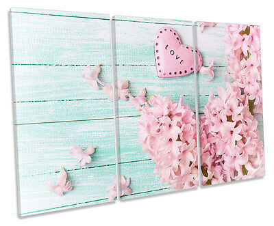 Love Heart Blossom Floral TREBLE CANVAS WALL ART Box Framed Picture