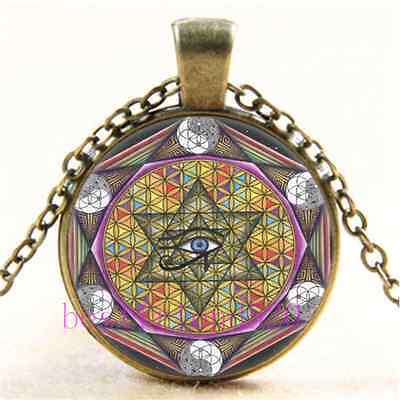 Vintage Sacred Geometry Eye of Horus Cabochon Glass Bronze Chain Necklace
