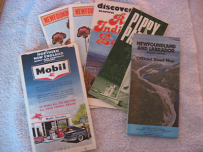 Two Vintage road Maps and 3 Newfoundland brochures