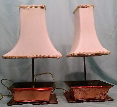 Vintage Pair Of Cooper & Brass Table Lamp Planters Very Rare!