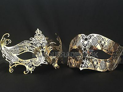 Couple White Masquerade stick mask set Wedding burlesque costume Fundraise party