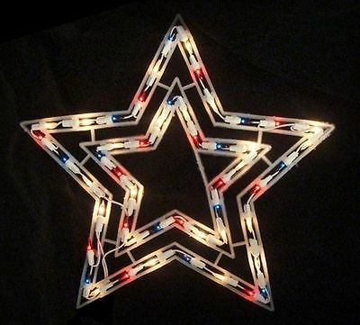 Patriotic Lighted Twinkling Star Red/White/Blue July 4th Window/Wall/Door Decor