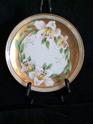 Pickard Hand Painted, Signed White Lily Sprays Plate