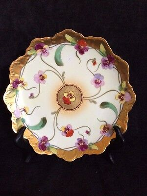 Pickard Hand Painted, Signed Scalloped edge Pansies Plate/Bowl