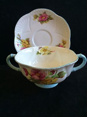 Shelley Dainty Begonia Footed Cream Soup Bowl and Saucer Set