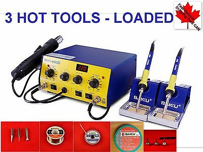 LOADED 3 Heat Points SMD Soldering ReWork Station HOT AIR & TWO IRONS 603D