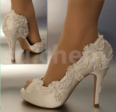 "3"" 4"" heel satin white ivory lace pearls open toe Wedding shoes bride size 5-11"