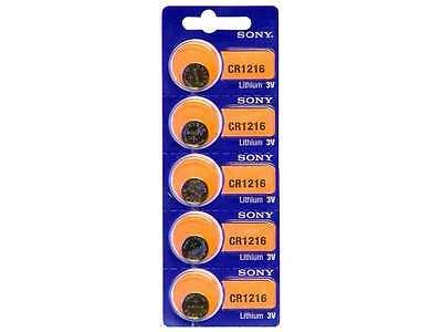 5 pc SONY CR1216 3 Volt Lithium Button Cell Battery USA Ship