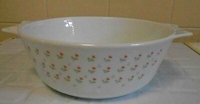 Vintage JAJ Pyres/ Milk Glass 'Laura' Casserole, 2 quart - perfect condition