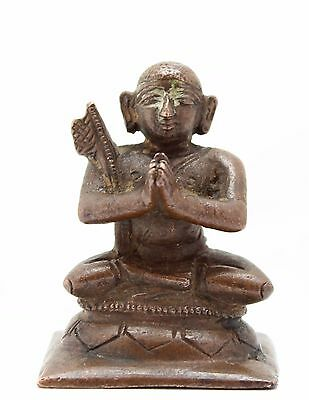 antique ca. 18th C small Indian Hindu bronze statue, Monk or Buddha, India