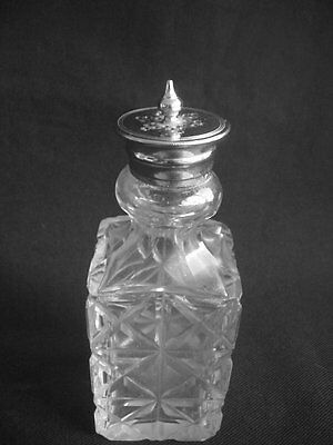 Vintage Glass Shaker / Caster ~Silver Plated Top ~Stylish