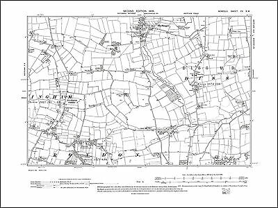 109NW repro Old map of Blo Norton Norfolk in 1905