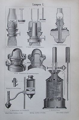 LAMPEN I.-II. 1895 original 2 Drucke antik Lithografie antique prints