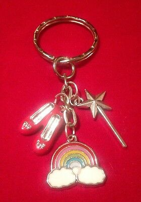 Wizard Of Oz Themed Keyring Ruby Slippers Rainbow Magic Wand Cult Film