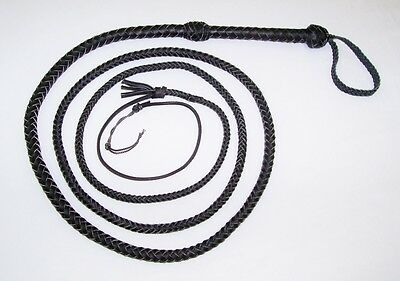 10 foot 8 Plait BLACK Real Leather Bullwhip Indiana Jones Leather Bull whips