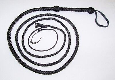 Real Catwoman BLACK Replica Bullwhip 10 foot long 8 plait Leather Bull whip