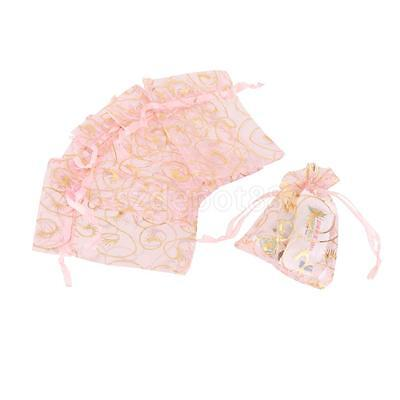100 Gold Eyelash Organza Gift Bags Jewellery Pouches Pink Wedding Party