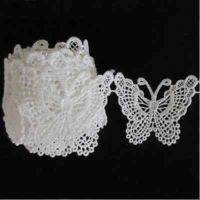 White Butterfly Lace Edge Wedding Crafts Trim Ribbon Applique Sewing Vintage EY0