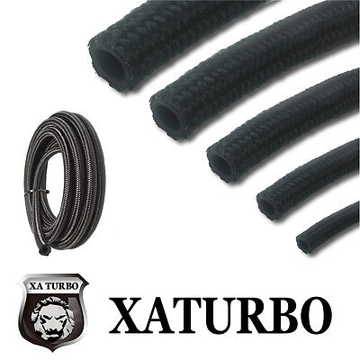 "10AN AN 10 AN -10 (14.3 mm 9/16"") Black Nylon Braided Fuel Oil Gas Hose Line 1m"