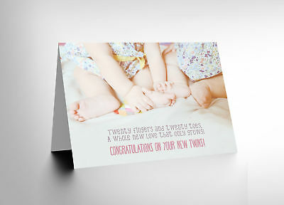 Card Greeting New Baby Fingers Toes 20 Twins Cl1598