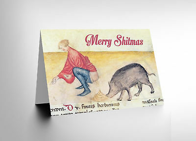 Card Merry Christmas Xmas Adult Theme Medieval Pig Fun Gift Cl1732