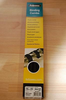 Binding Combs Black Fellowes Premium 10mm  5331102 REDUCED TO CLEAR