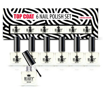 6 x TOP COAT NAIL VARNISH POLISH CLEAR SET LUXURY GIFT BOX WHOLESALE UK