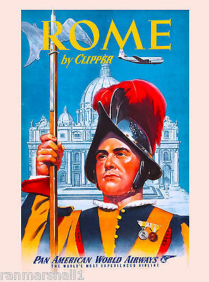 Rome Italy by Clipper Airplane Vintage Art Travel Advertisement Poster Print 9