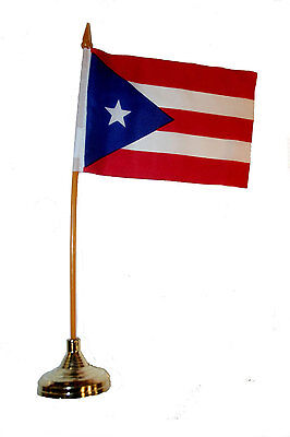 """Puerto Rico Country 4""""x 6"""" Inch Stick Flag With Gold Stand On 10"""" Plastic Pole"""